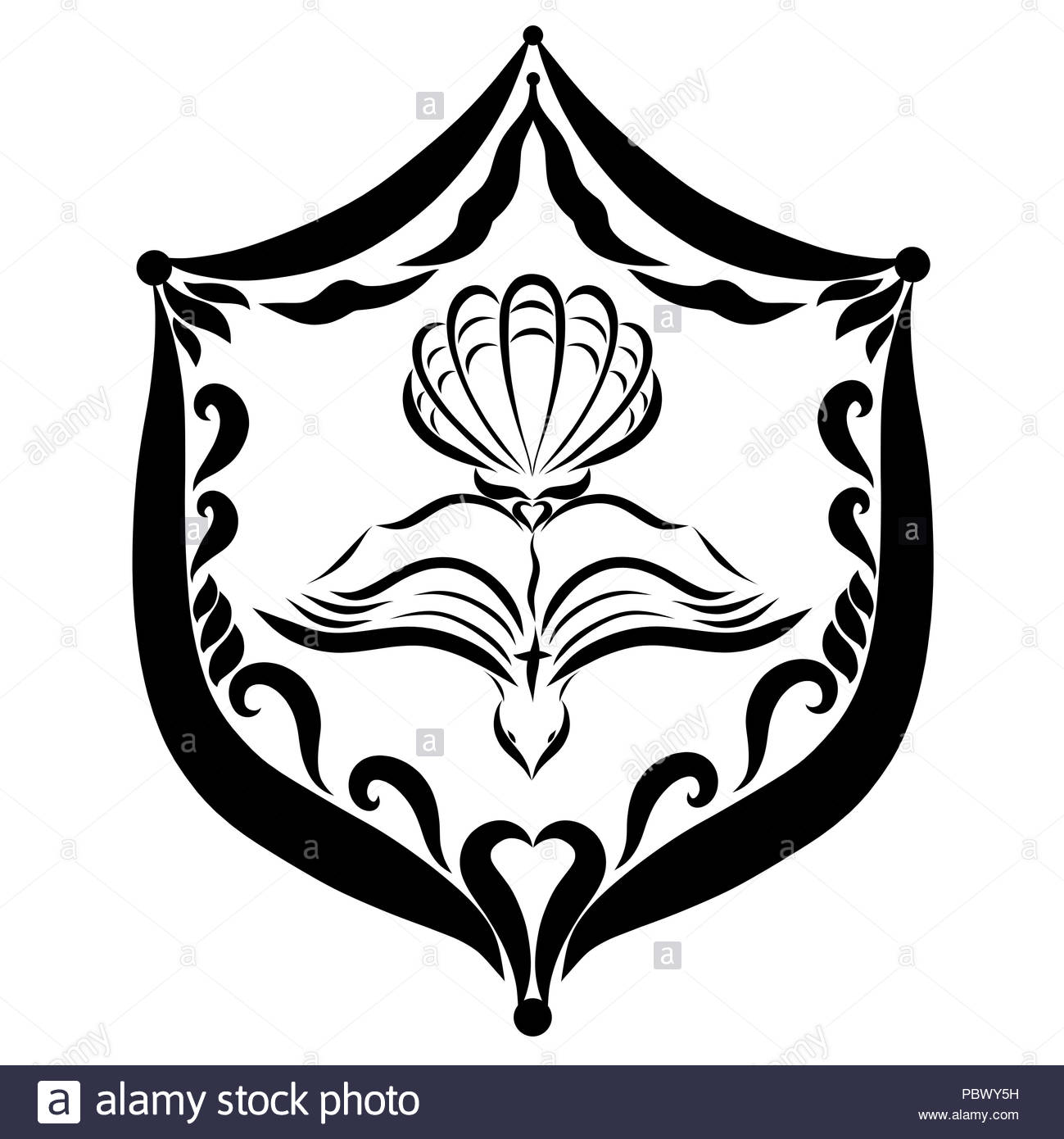 open bible flying dove and shell on the shield christian symbols