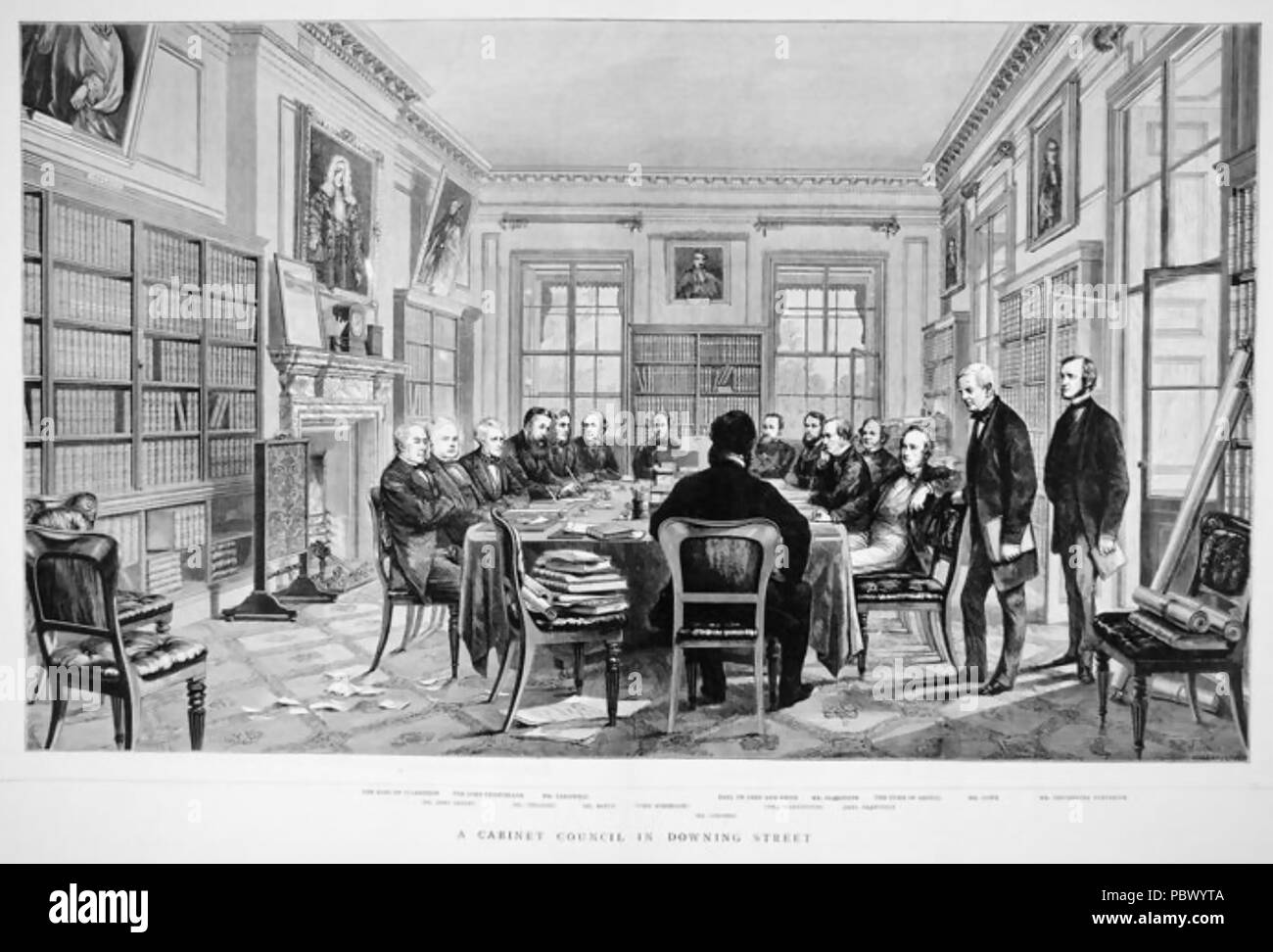 CABINET MEETING at No 10 Downing Street during  William Gladstone's 1868-1874  ministry - Stock Image