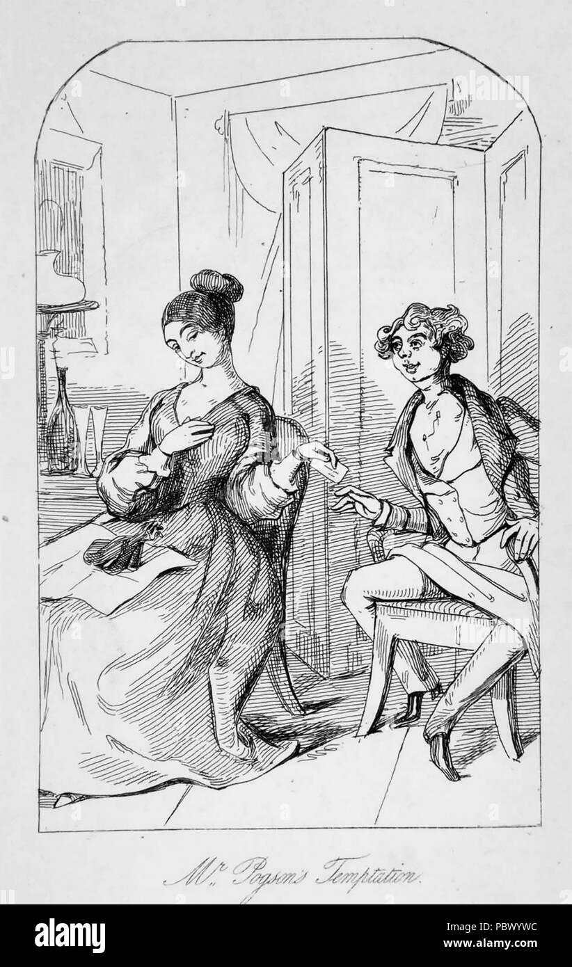 WILLIAM MAKEPEACE THACKERAY (1811-1863) English novelist. A scene from his  1840 novel The Paris Sketch Book showing Sam Pogson flirting Stock Photo