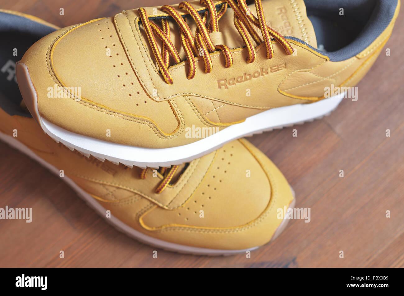 0152e9ab Kiev, Ukraine - May 30, 2018: Reebok sneakers are on the sneaker,