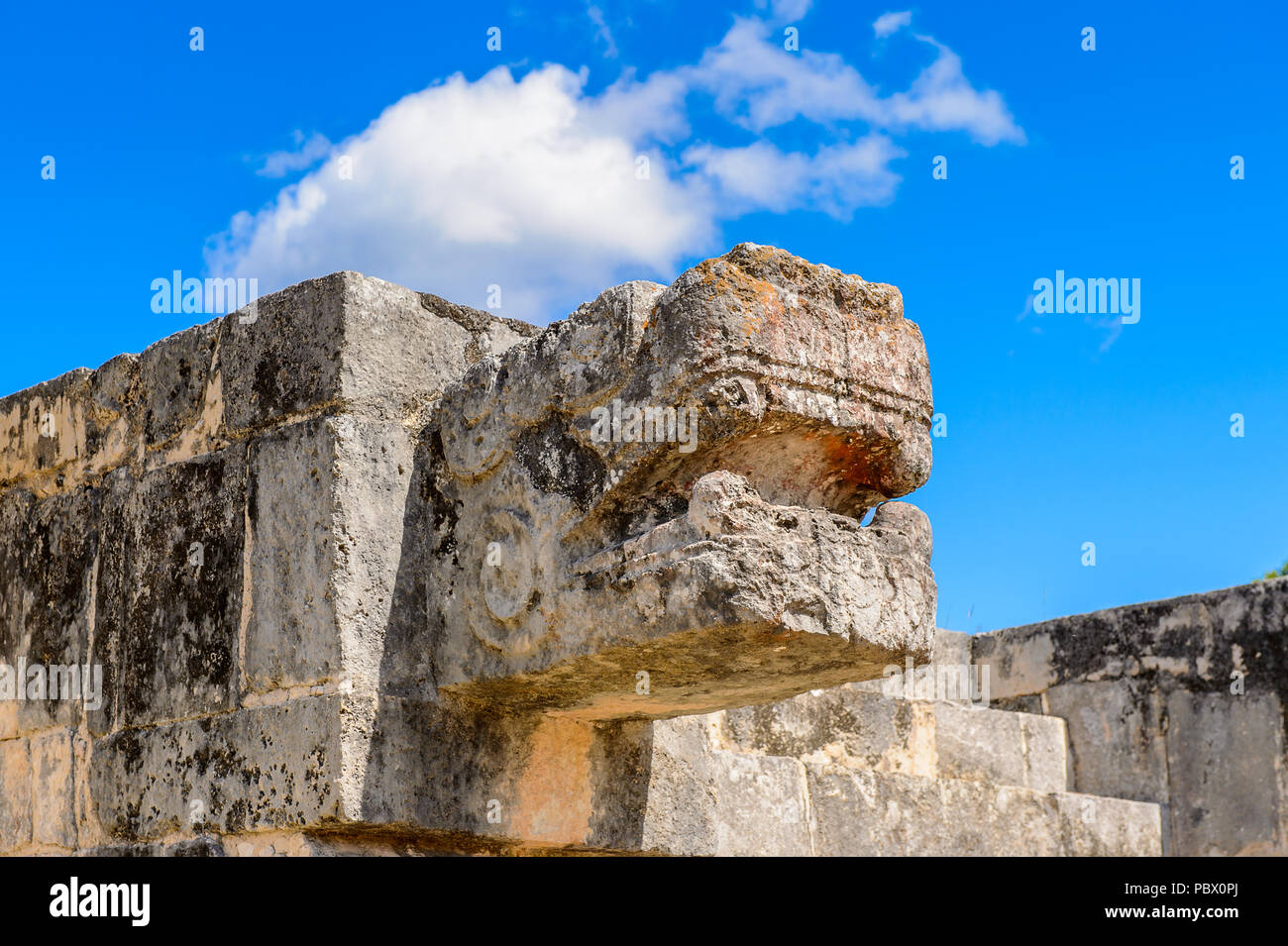 Plumed Serpent, Venus Platform, Chichen Itza, Tinum Municipality, Yucatan State. It was a large pre-Columbian city built by the Maya people of the Ter Stock Photo