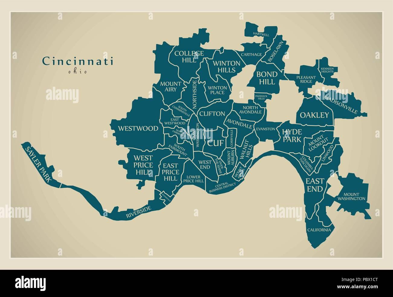 Modern City Map - Cincinnati Ohio city of the USA with ... on cincinnati ghetto, cincinnati schools, cincinnati spikes, cincinnati carousel, cincinnati shaper, cincinnati traffic, cincinnati united, cincinnati cop, cincinnati metro bus, cincinnati sunset, cincinnati events, cincinnati transportation, cincinnati night, cincinnati contemporary arts center, cincinnati neighborhoods demographics, cincinnati development, cincinnati convention center, cincinnati projects, hamilton county ohio map,