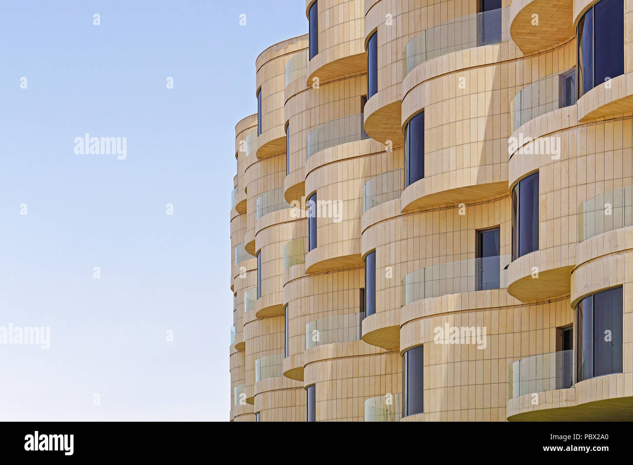 1642047928ad Modern new building with round balcony terrace in Kuwait Stock Photo ...