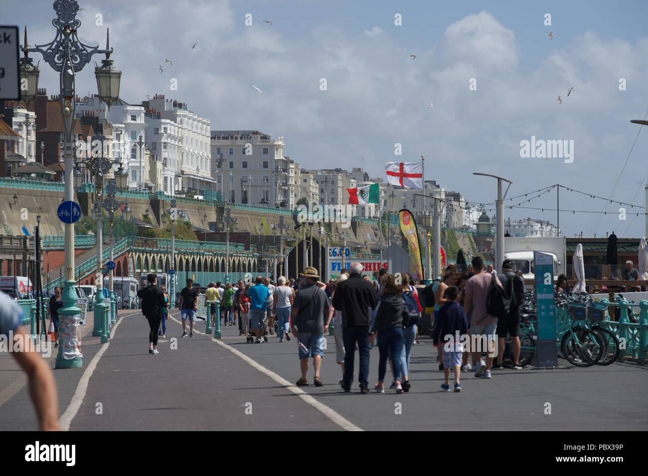 Brighton Beach and Palace Pier Summer 2018 - Stock Image