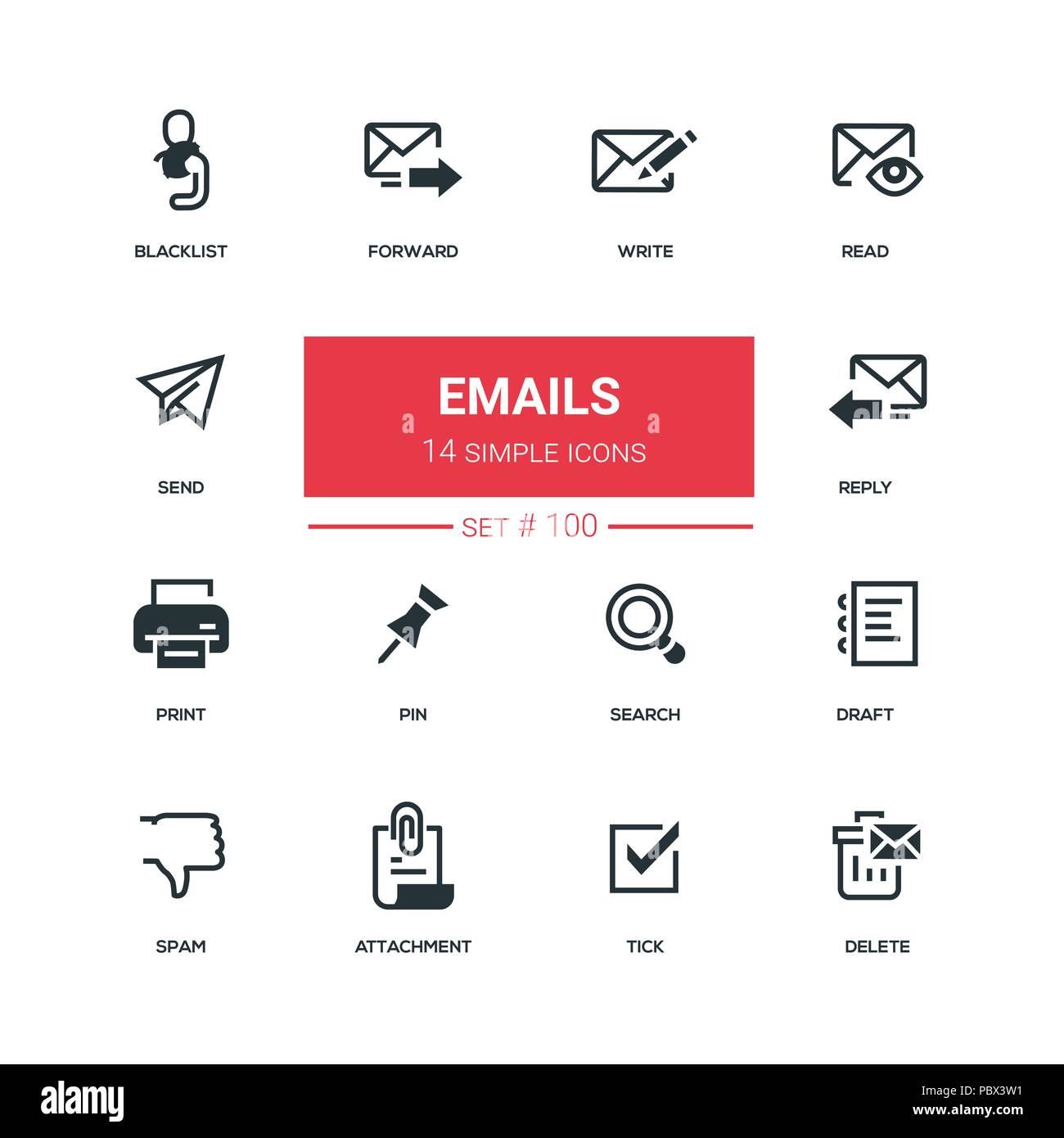 Emails - flat design style icons set - Stock Image