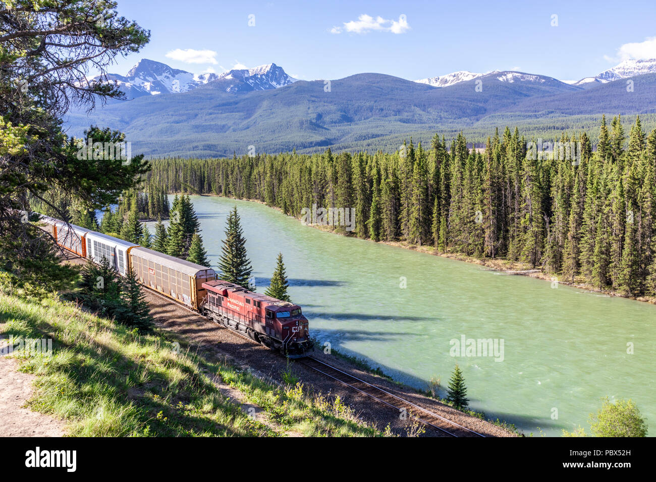 A freight train on the Canadian Pacific Railway running beside the Bow River and Rocky Mountains at Castle Junction NW of Banff, Alberta, Canada Stock Photo