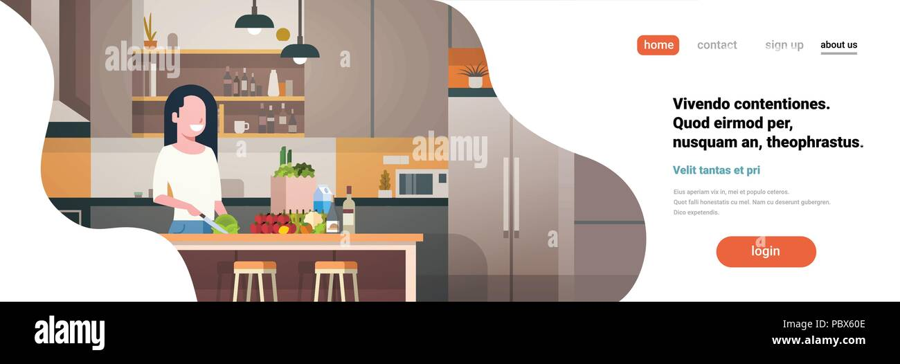 Woman Cook Kitchen Interior Girl Chopping Vegetables Cooking At Home