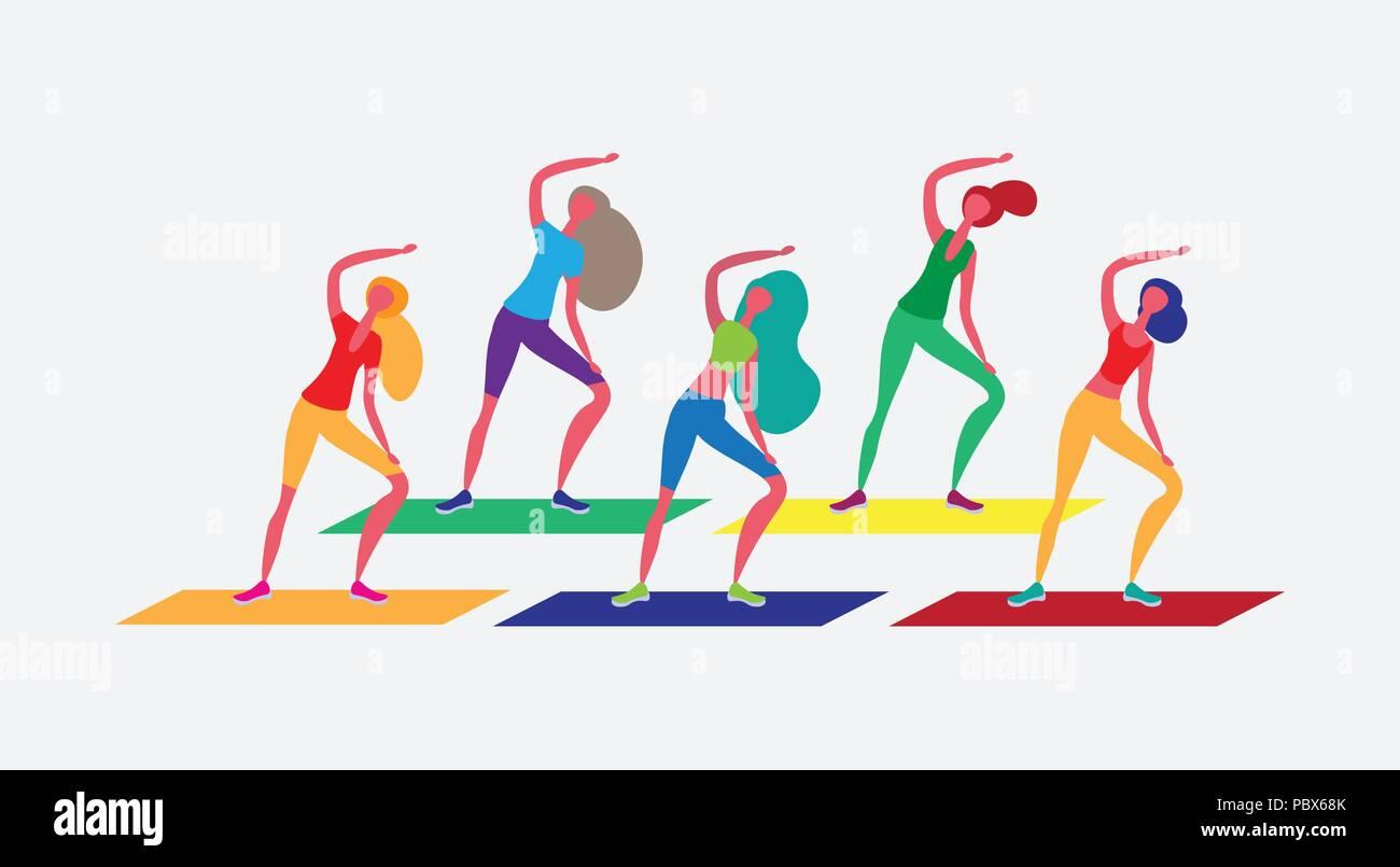 woman group doing aerobic exercises cartoon character ...
