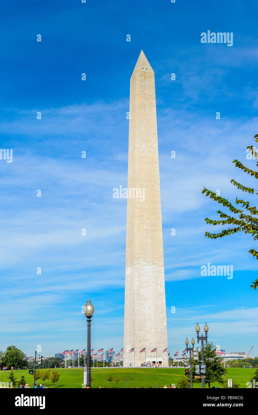 Washington Monument, an obelisk on the National Mall in Washington, D.C. U.S. National Register of Historic Places Stock Photo