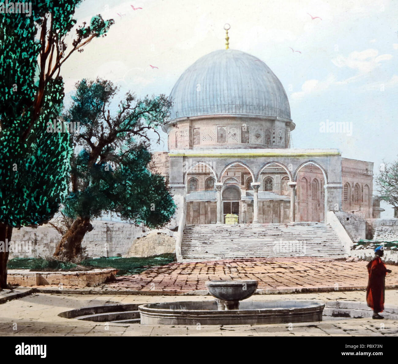 Mosque of Omar, Jersulem, Victorian period (hand coloured photo) - Stock Image