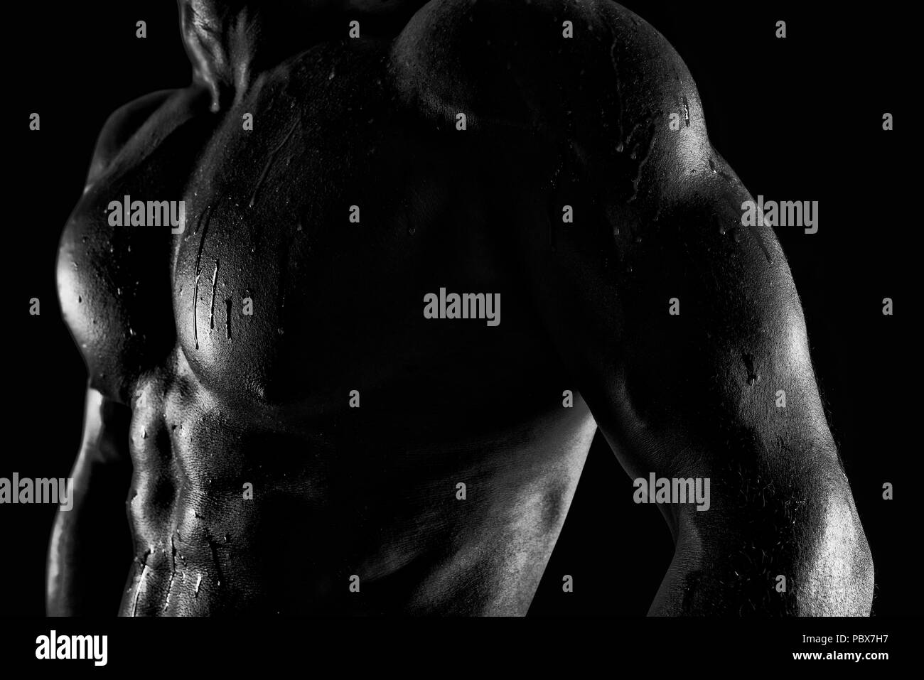 Muscular of a body building trainer man - Stock Image