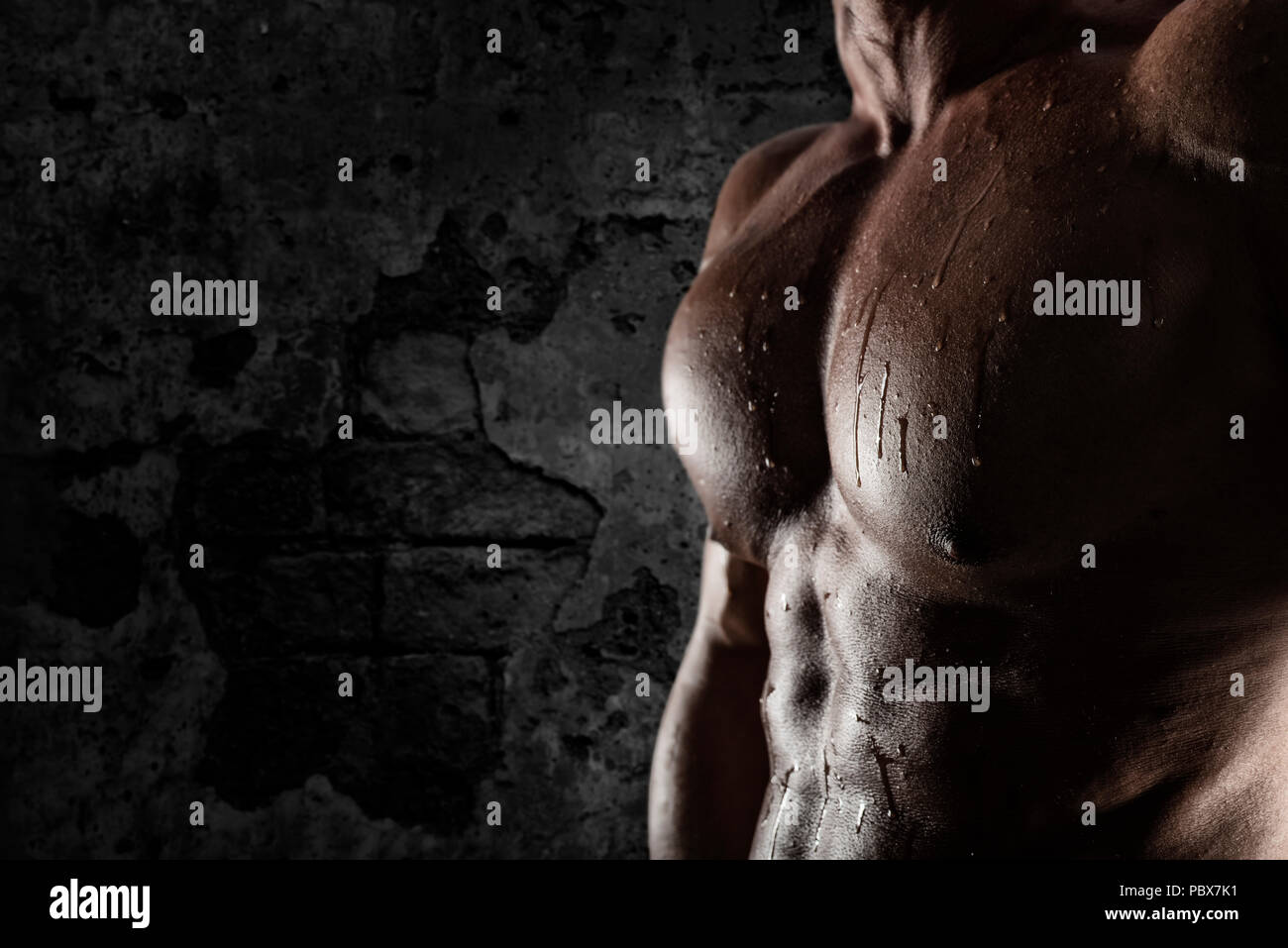 Muscular of a body building trainer man Stock Photo