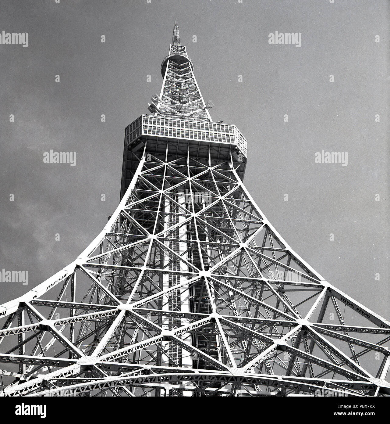 1958 Historical View From Below Of The Recently Built Tokyo Tower A Tall