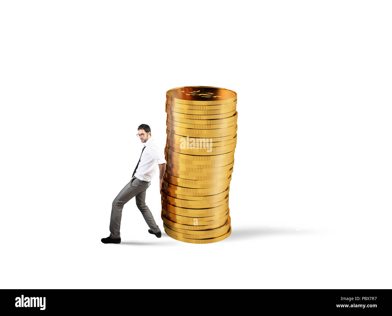 Businessman moves a pile of coins. concept of difficulty to saving money - Stock Image