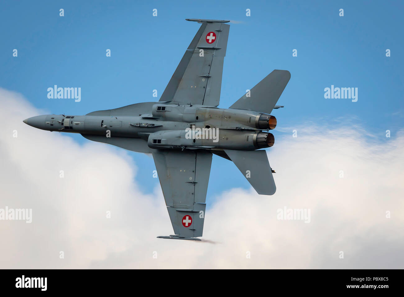 Fairford, Gloucestershire, UK - July 14th, 2018: Swiss Air Force Mcdonnell Douglas F/A-18 Hornet performing its Aerobatic Display at RIAT 2018 - Stock Image