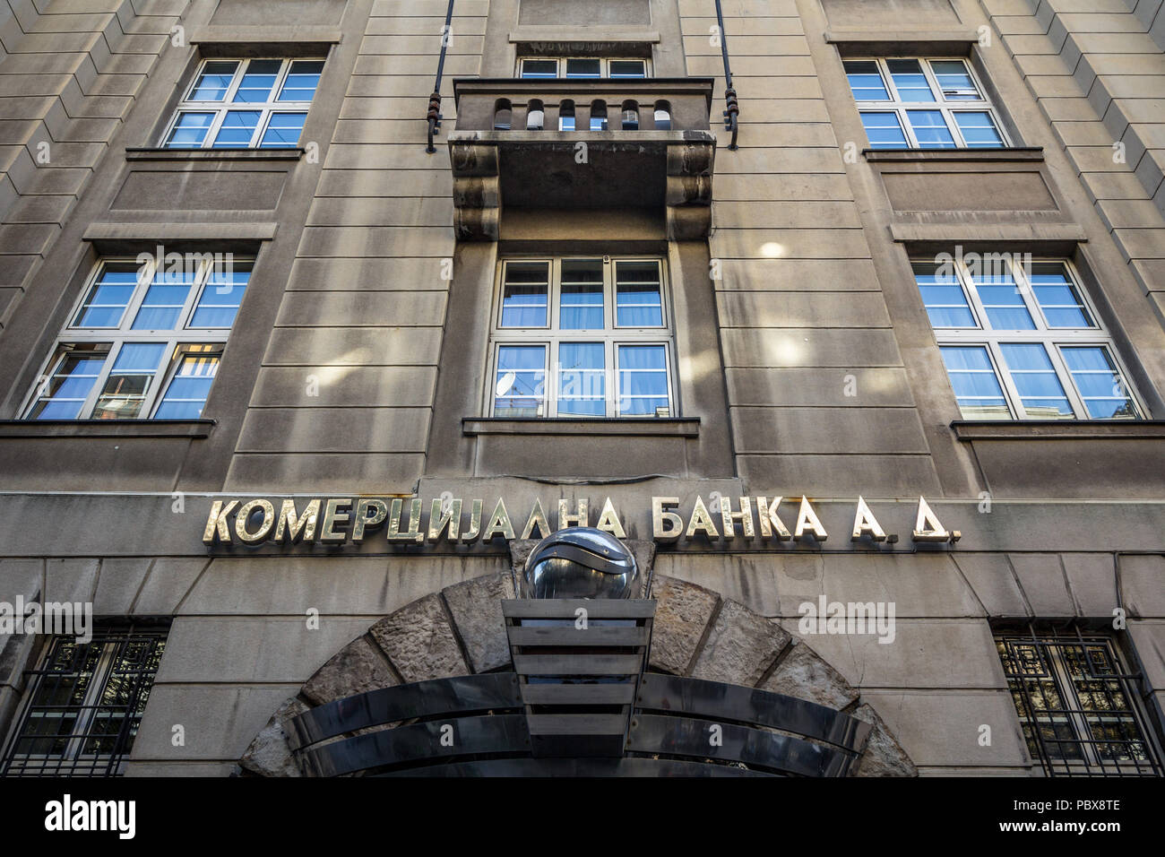BELGRADE, SERBIA - JULY 21, 2018: Komercijalna Banka logo on their main office in Belgrade. Currently being privatized, Komercijalna Banka is Serbian  - Stock Image