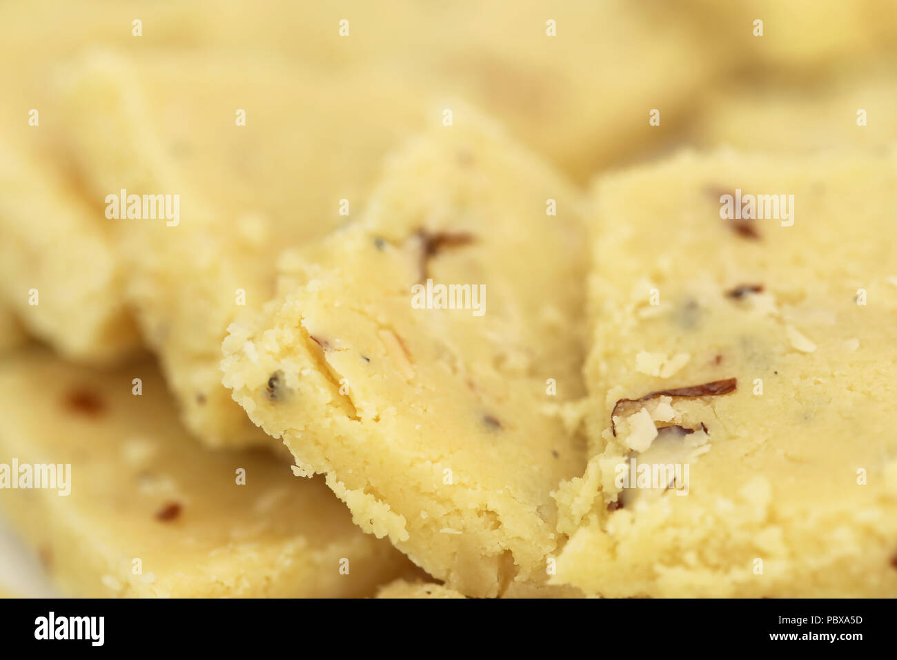 Closeup of some tasty almond barfi - Stock Image