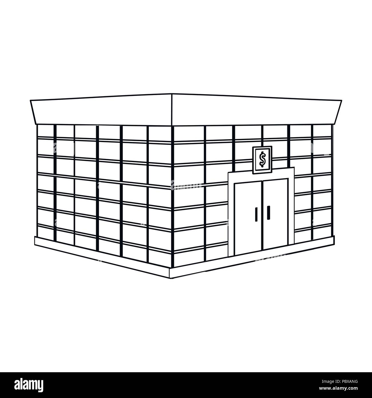 Office premises of the bank. Central bank single icon in outline style vector symbol stock illustration . - Stock Vector