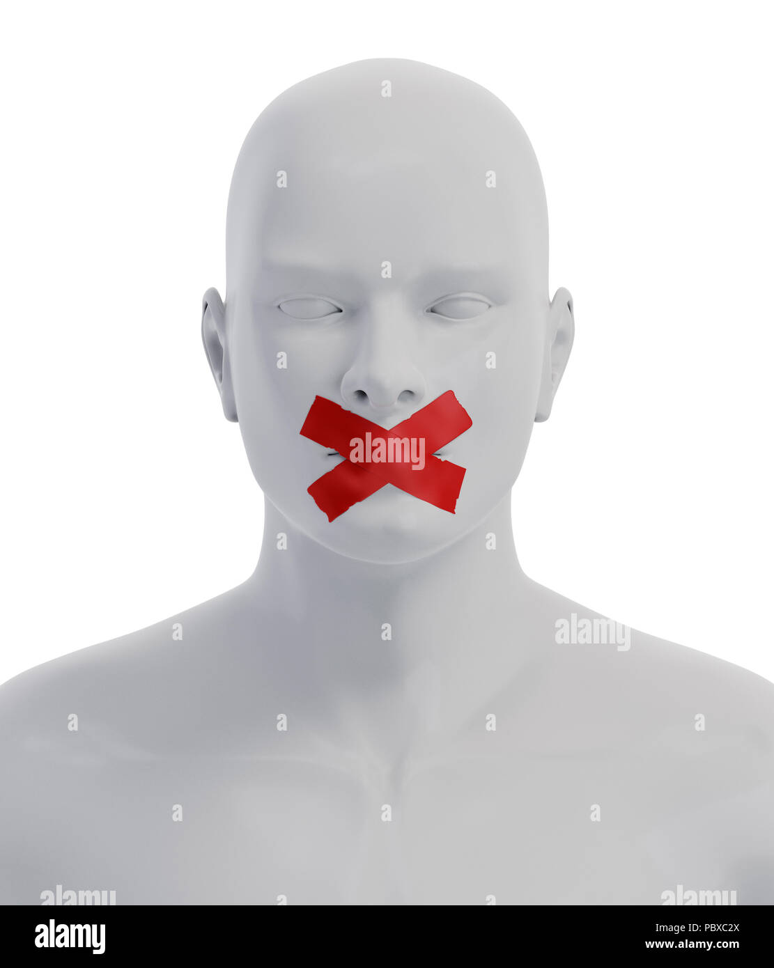 Man with Mouth Sealed on Duct Tape. Freedom of Speech Concept. 3D illustration - Stock Image