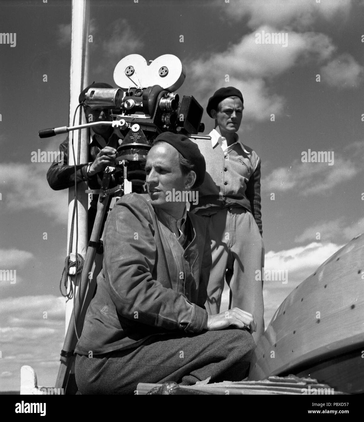 Ingmar Bergman. 1918-2007.  Swedish film director. Pictured here 1950 on the film set of the movie Summer Interlude. The film had premiere 1951. Photographer: Kristoffersson/az32/11 - Stock Image