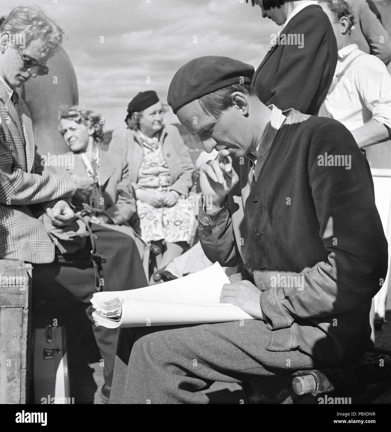 Ingmar Bergman. 1918-2007.  Swedish film director. Pictured here 1950 on the film set of the movie Summer Interlude. The film had premiere 1951. Photographer: Kristoffersson/AZ33-10 - Stock Image