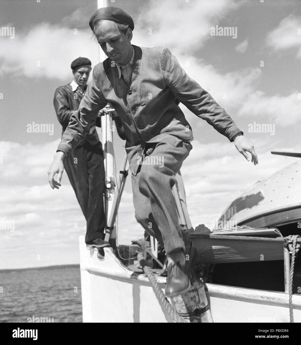 Ingmar Bergman. 1918-2007.  Swedish film director. Pictured here 1950 on the film set of the movie Summer Interlude. The film had premiere 1951. Photographer: Kristoffersson/AZ32-10 - Stock Image