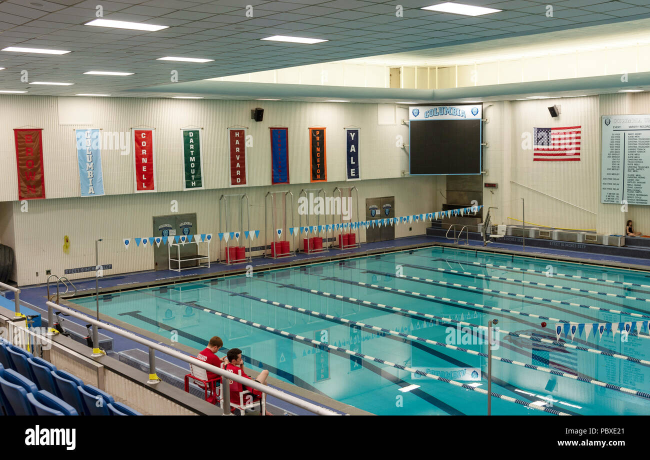 New York, USA. The Columbia University Percy Uris Natatorium. Indoor swimming pool complex. - Stock Image