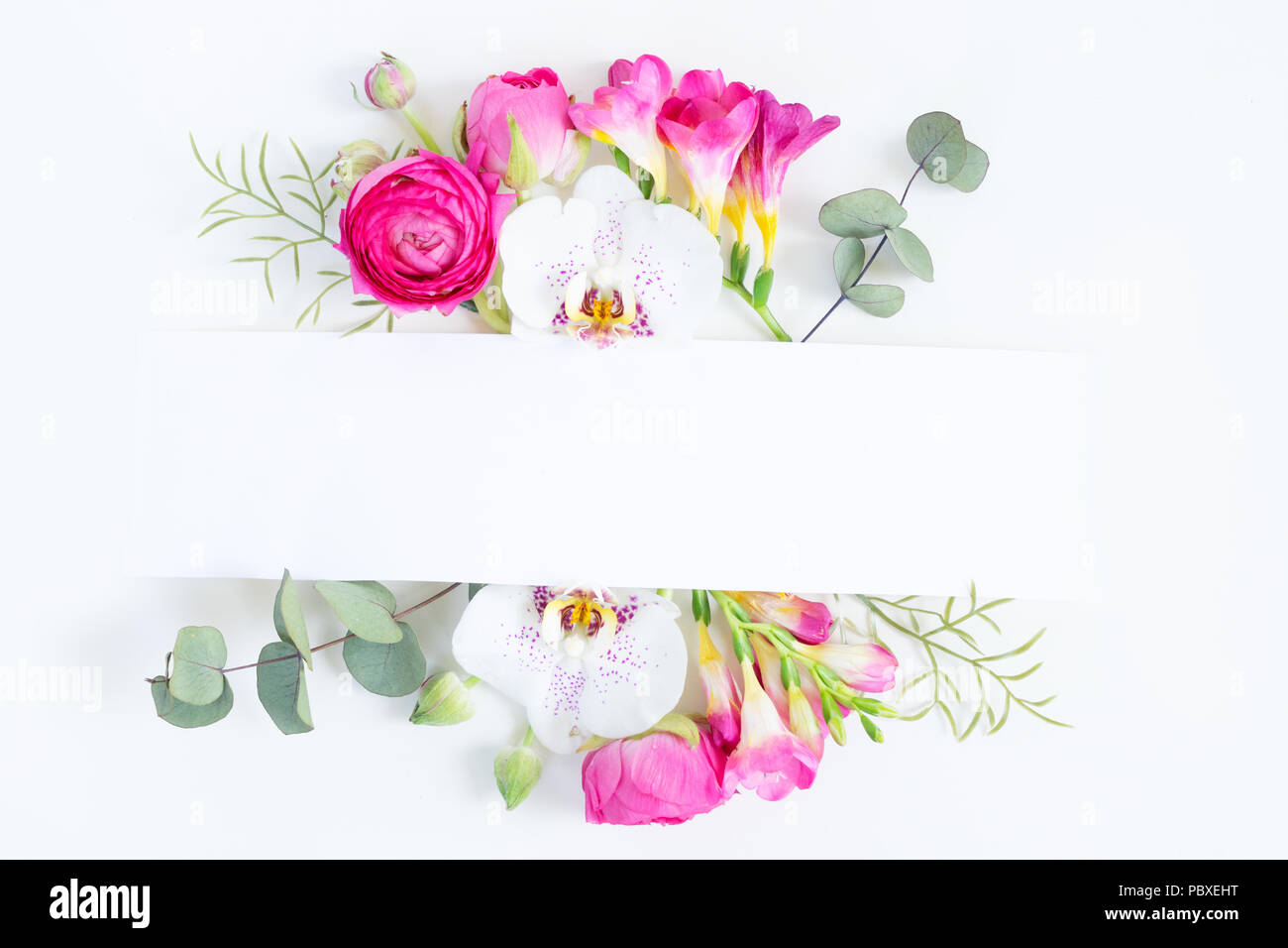 flowers layout with copy space for cards wedding invitation