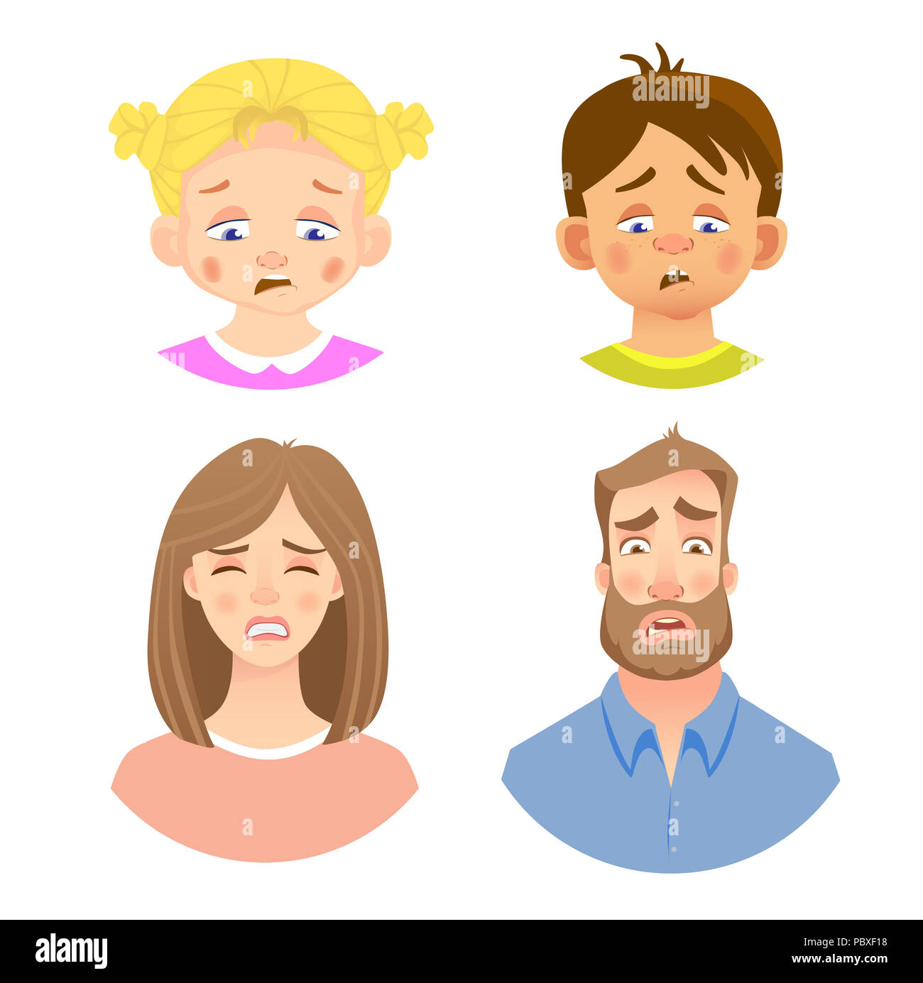 Emotions of human face. Set of avatars with different emotions. Illustration - Stock Image