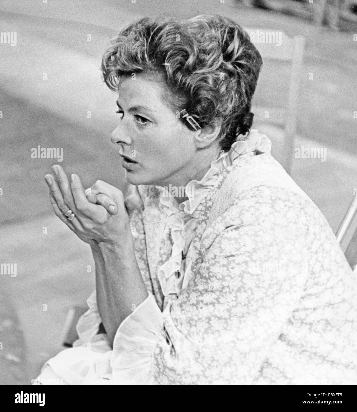 Ingrid Bergman. 1915-1982. Swedish actress. Pictured here during the filming of the anthology film Stimulantia. The film was divided into several different parts and Ingmar Bergman directed one of them. - Stock Image