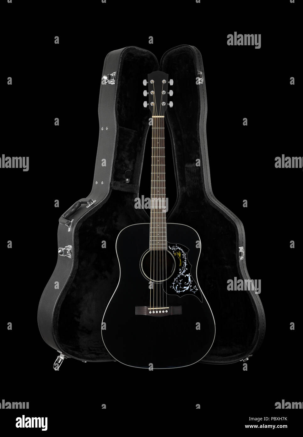 Musical instrument - Front view black folk acoustic country flower bird pickguard western guitar in hard case  isolated on a black background. Stock Photo