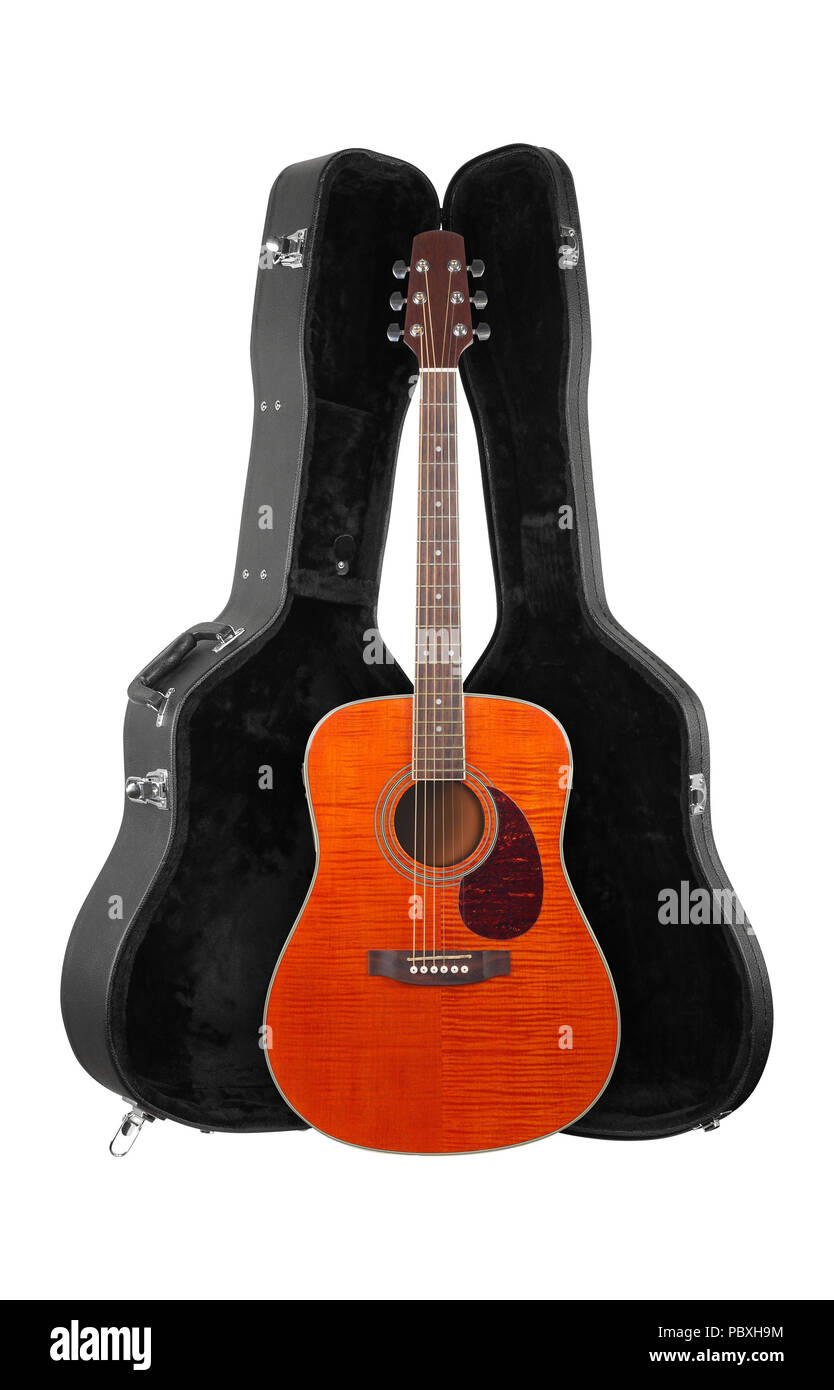 Musical instrument - Front view orange western acoustic guitar in hard case  isolated on a white background. Stock Photo