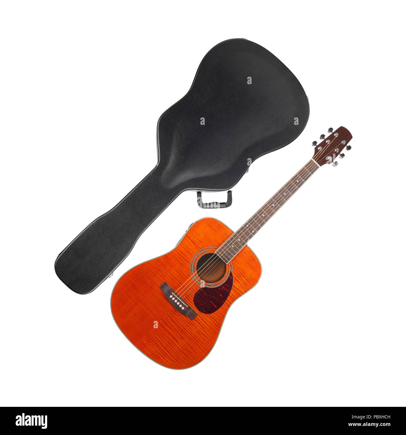 Musical instrument - Orange Flame maple western guitar hard case isolated on a white background. Stock Photo