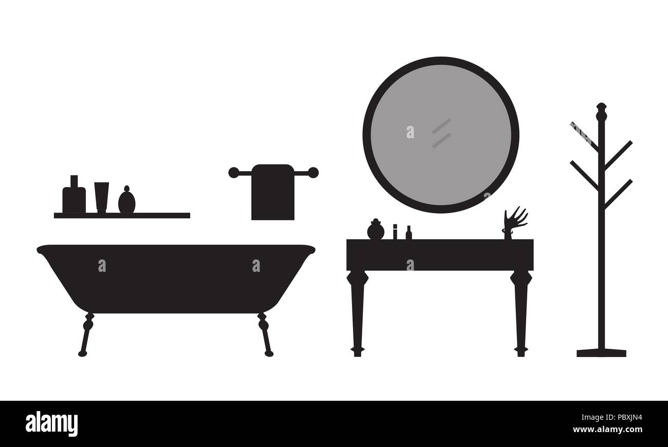 Set of silhouettes of bathroom equipment and accessories with towel ...