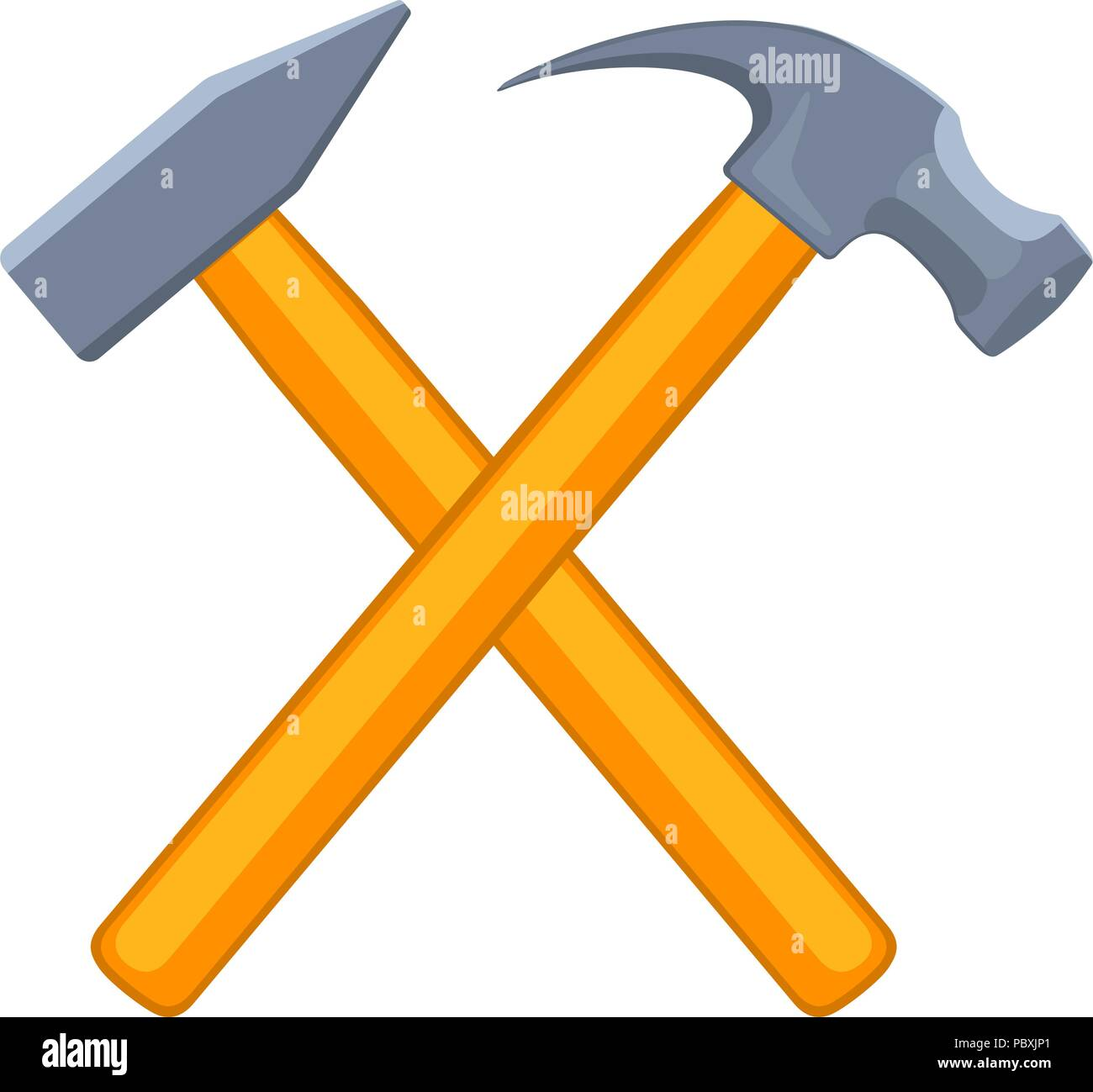 Colorful cartoon tow crossed hammers - Stock Vector