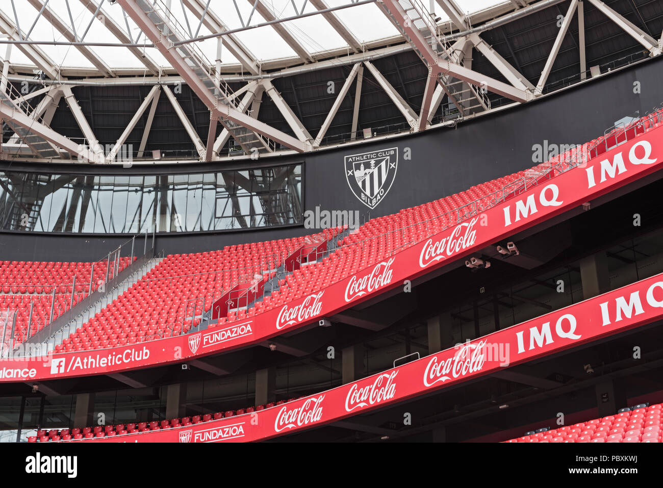 View of the stands of San Mames, football stadium, home of Athletic club Bilbao, Basque Country, Spain. - Stock Image