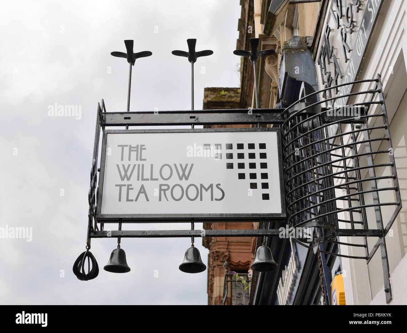 A decorative sign above the entrance for the Willow Tea Rooms in Buchanan Street, Glasgow, Scotland, UK Stock Photo