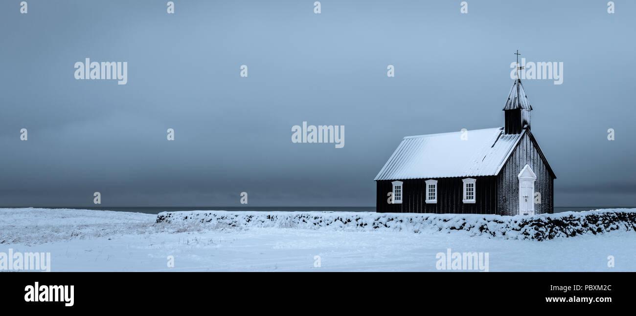 Budir Church, Snaefellsnes Iceland, Europe in winter - Stock Image