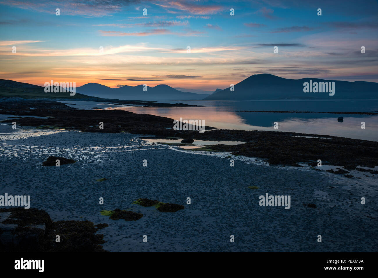 Paible beach on Taransay, Isle of Harris, Scotland, UK, Europe at sunset - Stock Image