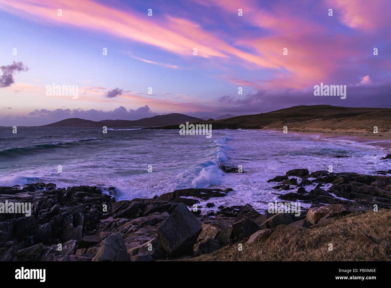 Seilebost sunset, Isle of Harris, Scotland, UK, Europe - Stock Image