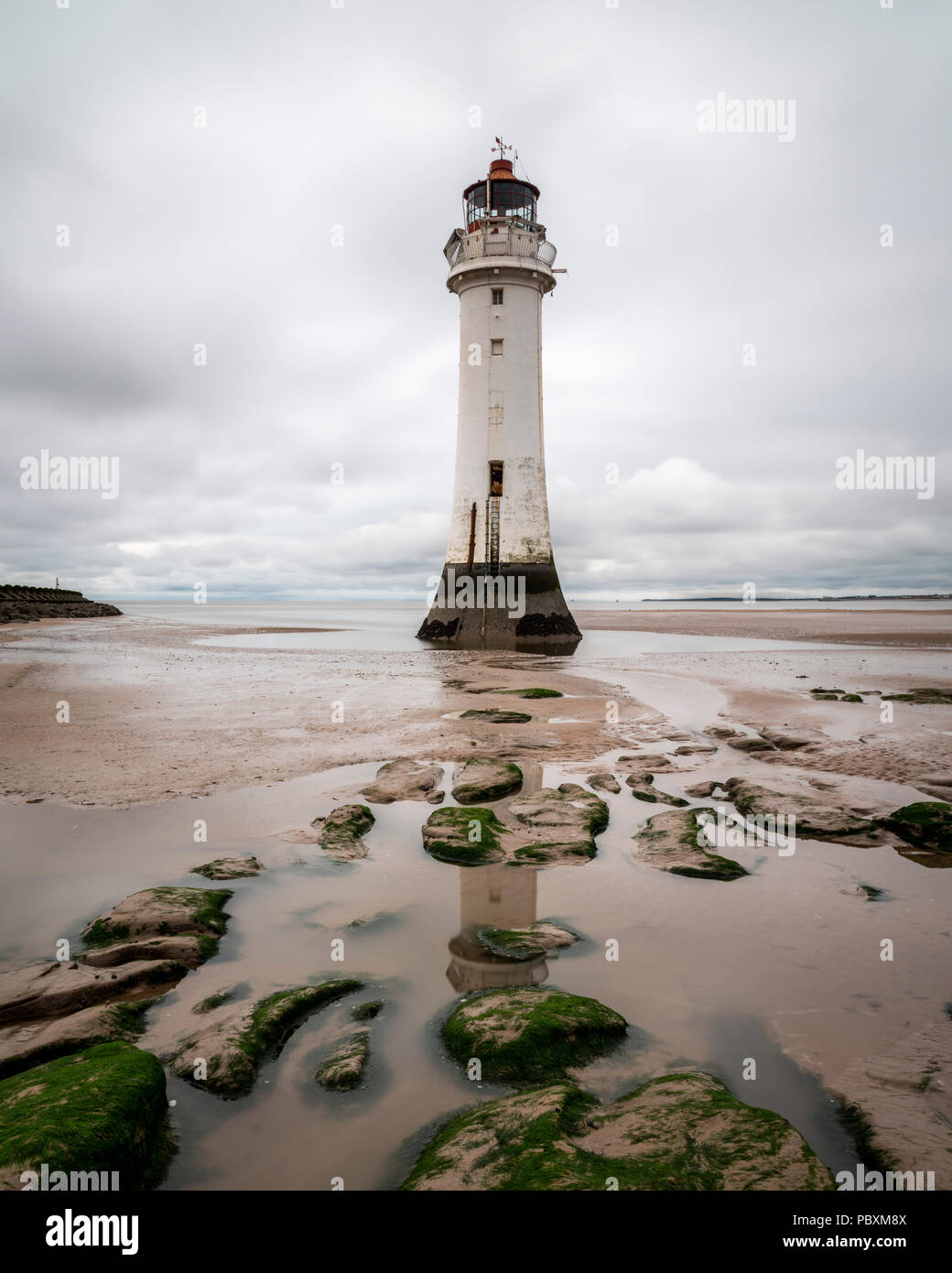 Fort perch lighthouse, New Brighton, Liverpool Bay, Merseyside, England, UK, Europe - Stock Image