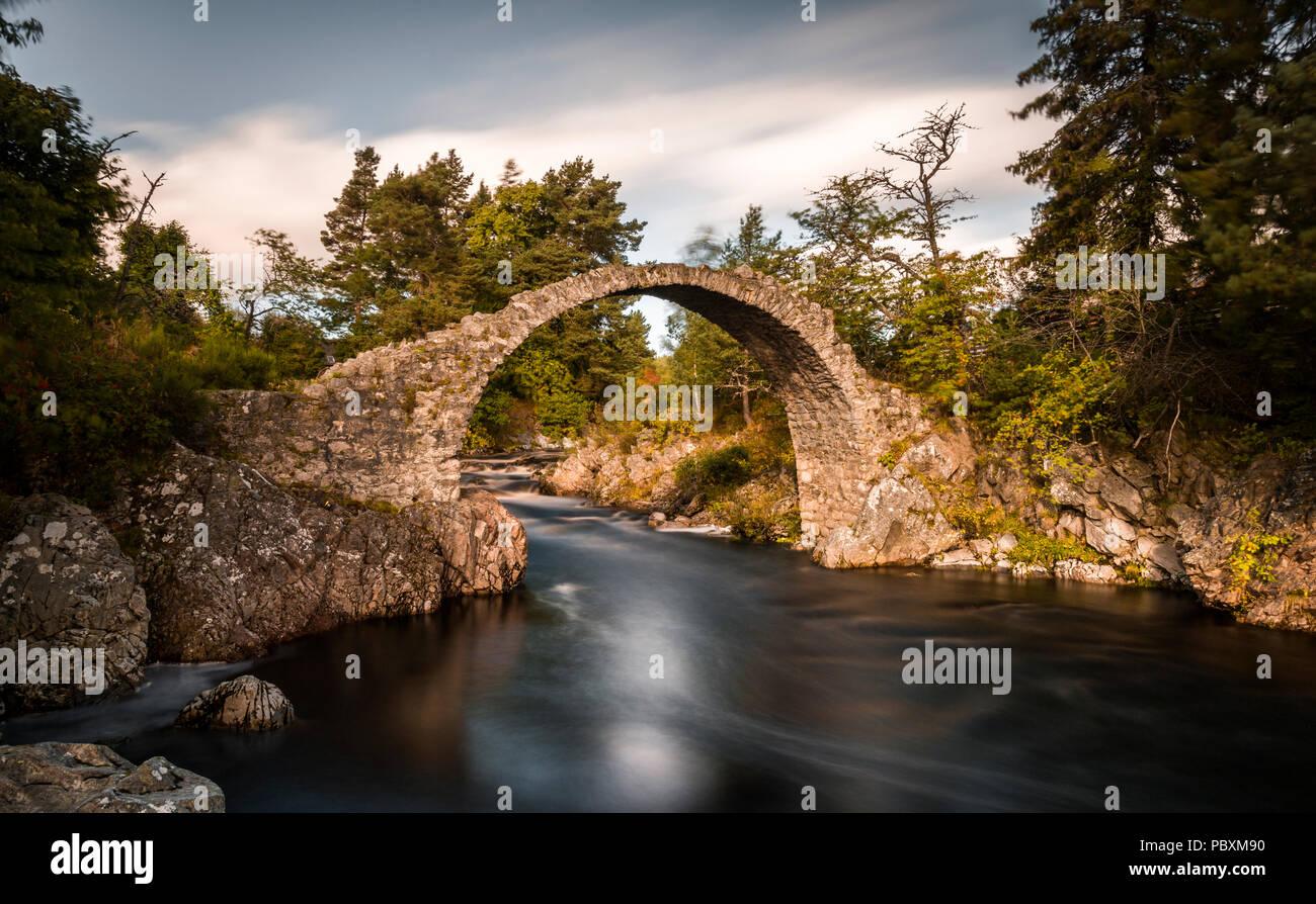 Old packhorse bridge, Carrbridge, Scottish Highlands, Scotland, UK, Europe - Stock Image