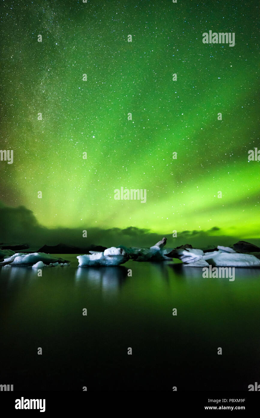 Northern lights, Aurora Borealis, Jokulsarlon Lagoon, Iceland, Europe - Stock Image