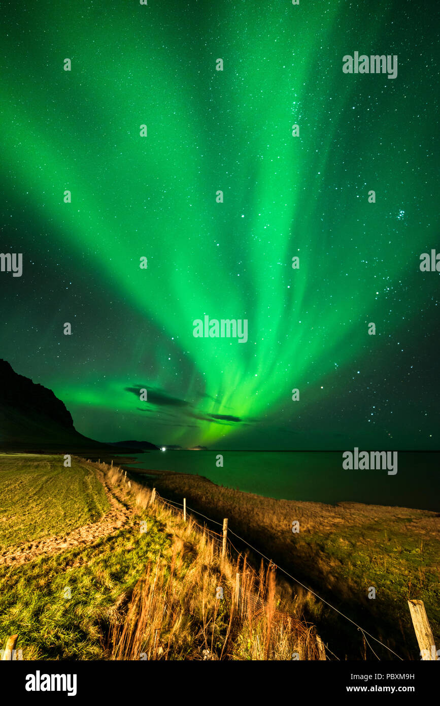 Northern lights, Aurora Borealis, Hali, Iceland, Europe - Stock Image