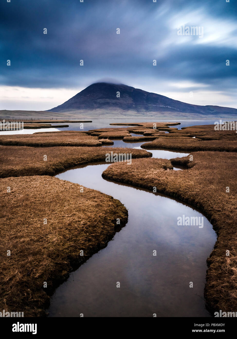 Ceapabhal hill, Chaipaval and Northton Salt Marsh, Isle of Harris, Scotland, UK, Europe - Stock Image