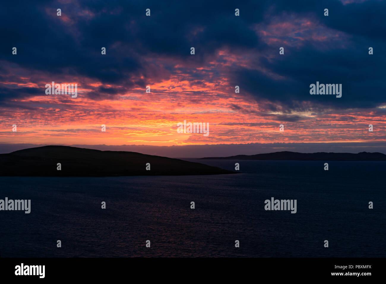 Taransay sunset, Isle of Harris, Scotland, UK, Europe - Stock Image