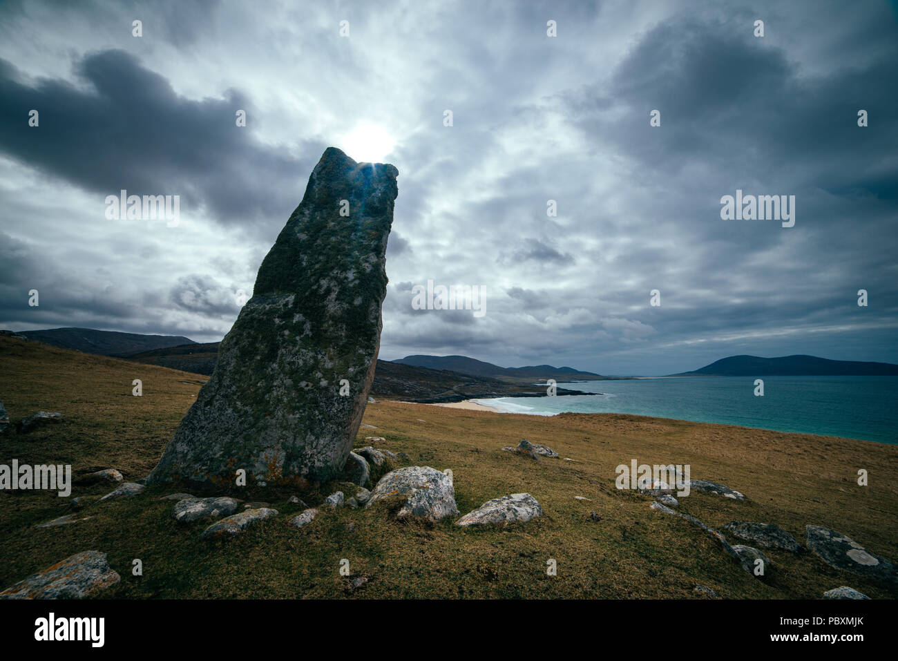 Macleod standing stone, Isle of Harris, Scotland, UK, Europe - Stock Image