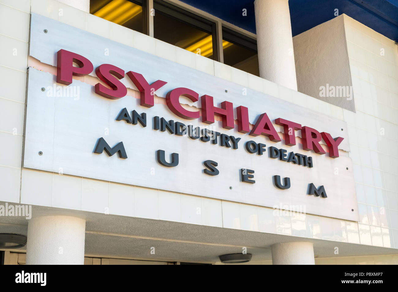 Psychiatry an Industry of Death museum, Hollywood, Los Angeles, LA, California, CA,USA, logo sign - Stock Image