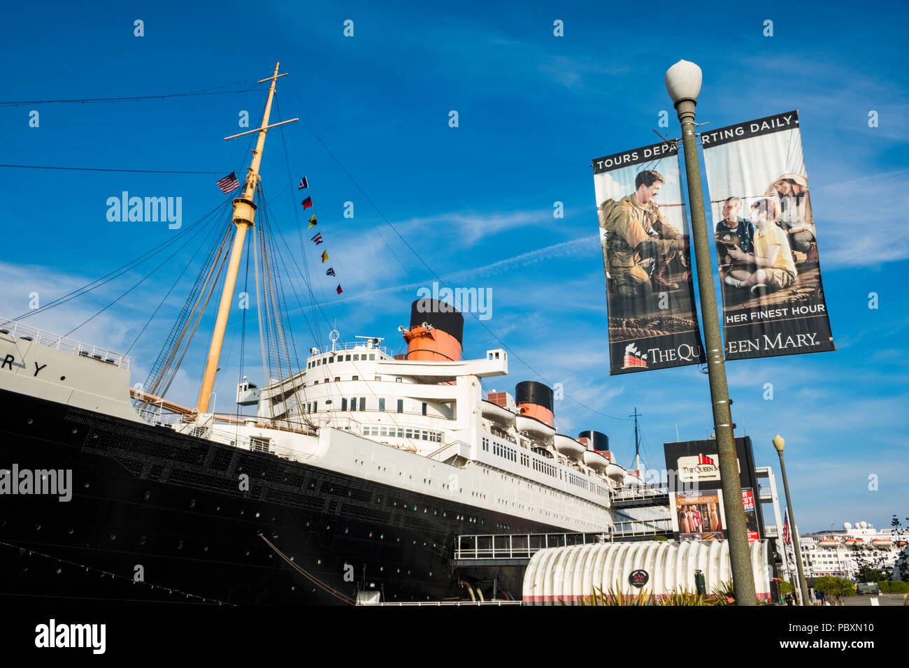 The Queen Mary ocean liner, now a museum and major tourist attraction in Long Beach, California, CA, USA - Stock Image