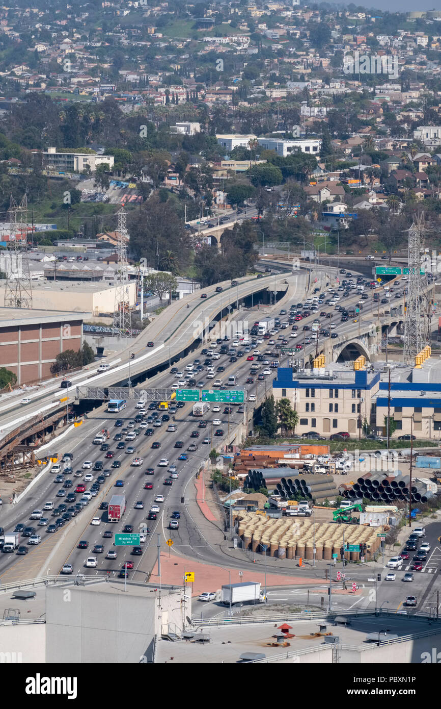 Aerial view of traffic on a Los Angeles Freeway Highway